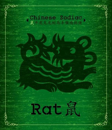chinese script: Chinese Zodiac  about  rat Illustration