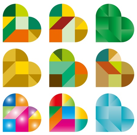 color tangram: Heart Puzzle Illustration