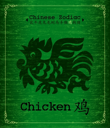 Chinese Zodiac about Chicken Vector