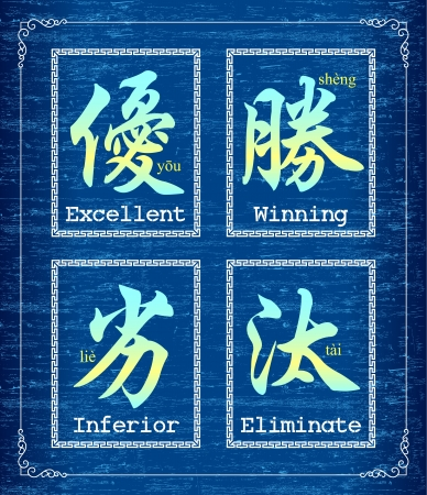 chinese alphabet: Chinese character symbol about Competition