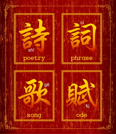 Chinese character symbol about Poetry  Vector