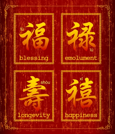 chinese script: Happiness prosperity and longevity Illustration