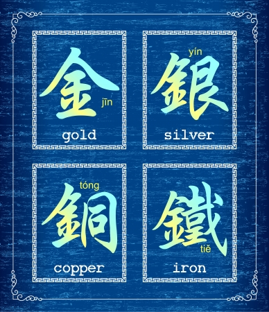 Chinese character symbol about Metal Vector