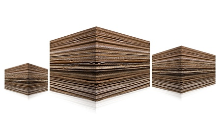 Pile of Cardboard isolated on white  photo