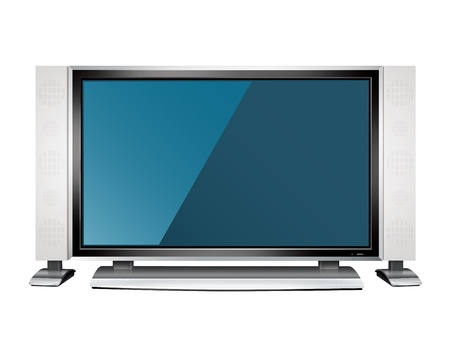 lcd tv: TV set isolated on white Stock Photo