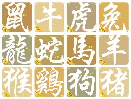 12 signes du zodiaque chinois Illustration