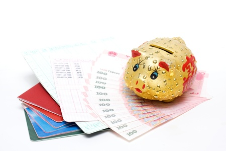 Piggy bank and passbook photo