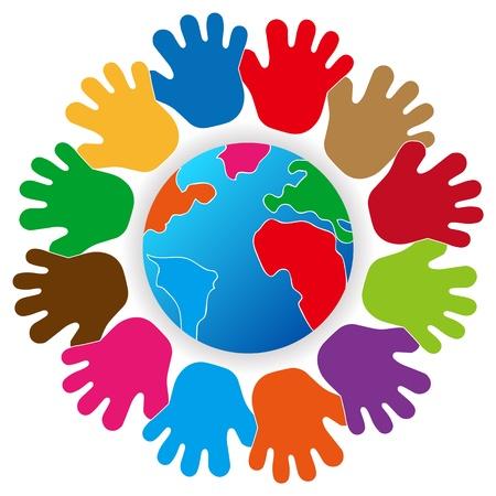 vida social: Vector tierra protegido por las manos