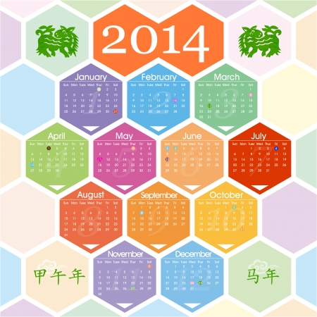 yearly: 2014 calendario chino