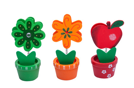 value add: Wooden flower and fruit isolated