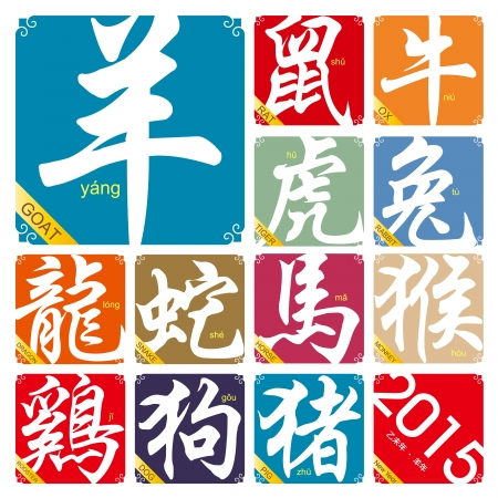 chinese zodiac: Chinese zodiac signs with the year of the Goat