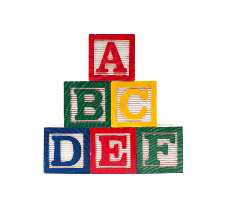 grammar: Wooden alphabet cubes with ABC letters Stock Photo