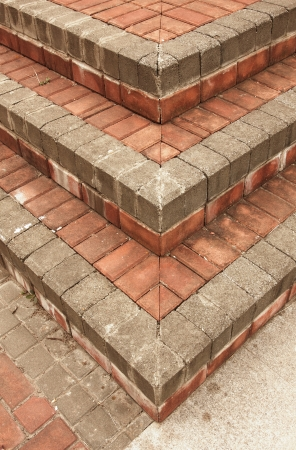 Red brick steps photo