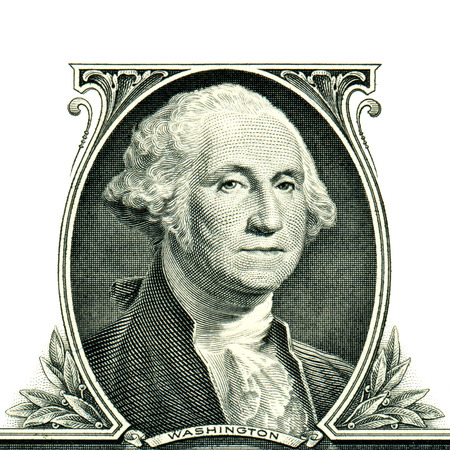 george washington: George Washington con un dólar Foto de archivo