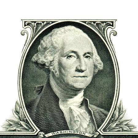 george washington: George Washington con un d�lar Foto de archivo