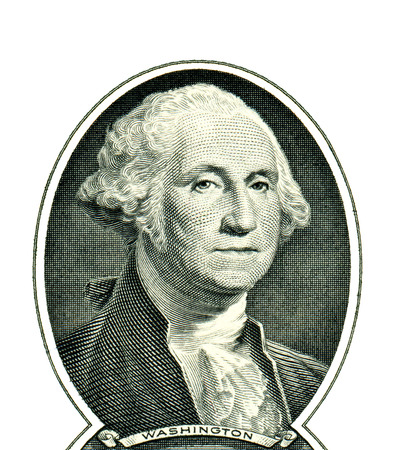 george washington: George Washington con un d�lar Foto de archivo