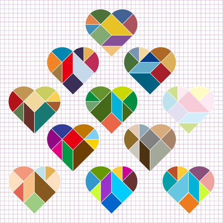 color tangram: Vector Heart Puzzle