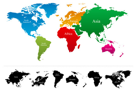 continents: World map with colorful continents Atlas - Vector Illustration