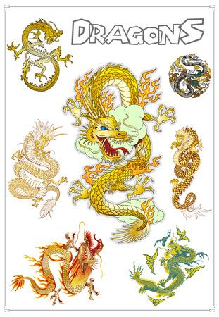 Vector Traditional Asian Dragons