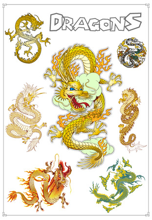 tatouage dragon: Vectorielle traditionnels dragons asiatiques