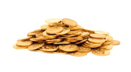 pile of coins: A pile of gold coins isolated Stock Photo