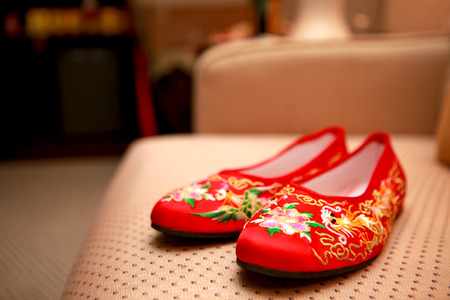 Chinese bridal shoes photo