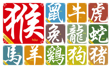 snake calligraphy:  Chinese zodiac signs with the year of the Monkey in 2016