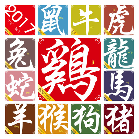snake calligraphy: Chinese zodiac signs with the year of the rooster in 2017