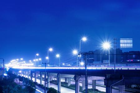 City viaduct road night scene
