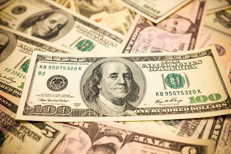 benjamin franklin: One hundred dollars bills background