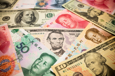 u s: Chinese Yuan and U dollar background Exchange rate Note S concept
