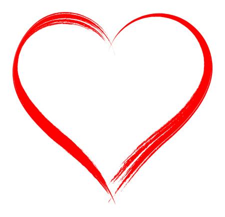 Estructura en forma de corazón con la pintura del cepillo aisladas sobre fondo blanco Vectores