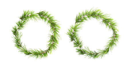 evergreen wreaths: Green christmas wreath with pine branches isolated on white background