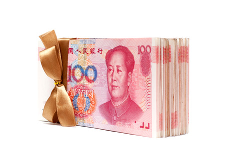 valorization: A stack RMB Chinese Note isolated on of Yuan white