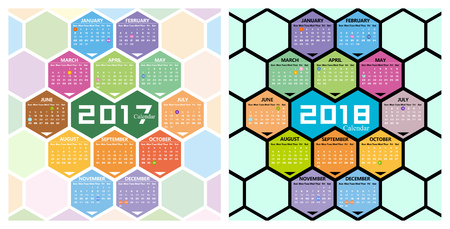 Vector 2017,2018 calendar with honeycomb shape background
