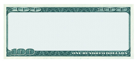 banknote: Blank 100 dollar banknote pattern isolated on white background