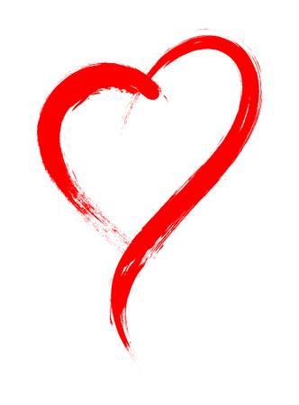 Cadre de forme de coeur avec peinture au pinceau isolé sur fond blanc