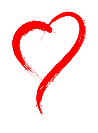 Serce kształtu ramki z malowaniem pędzlem na białym tle