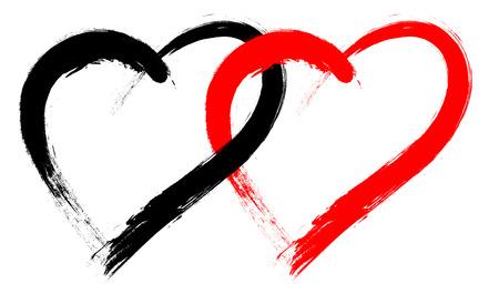 forma de corazón doble con la pintura del cepillo aislado en el fondo blanco