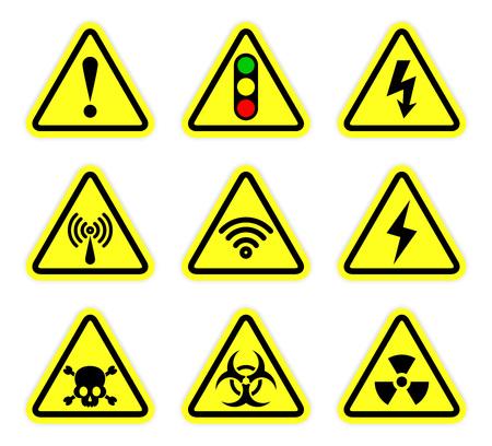 warning, signal symbol and radiation sign set Vectores