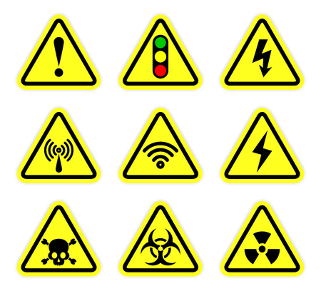 warning, signal symbol and radiation sign set Stock Illustratie