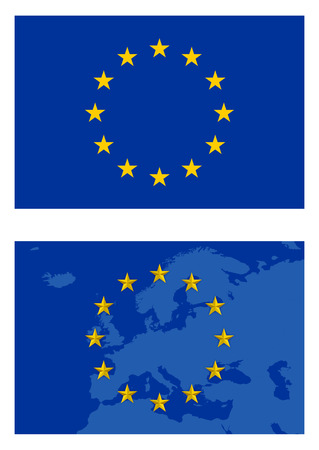 europe flag and map isolated on white background Illustration