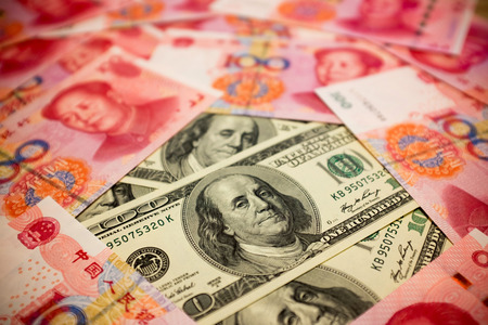 u s a: Chinese Yuan and U dollar background Exchange rate Note S concept