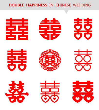 Wektor Chiński Xi Double Happiness symbol Shuang zestaw