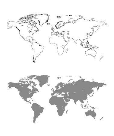 World map with outline Çizim