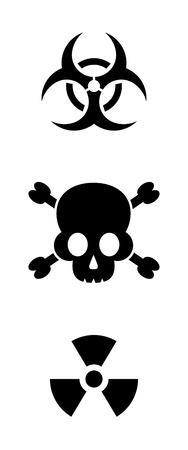 biohazard and radioactive warning signs Çizim