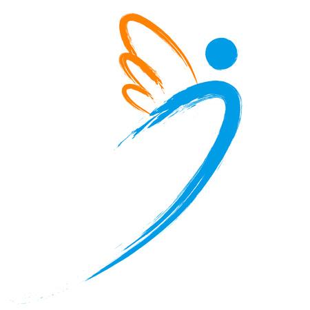 angel symbol with brush painting isolated on white background  イラスト・ベクター素材
