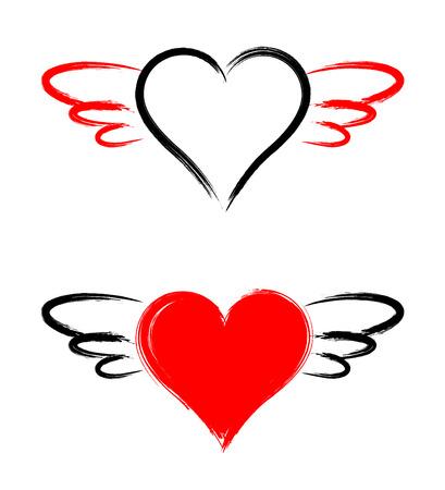 Herzform mit Flügeln isoliert auf weißem Hintergrund Standard-Bild - 94647395