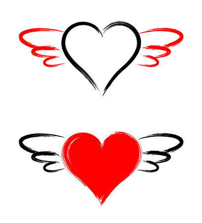 heart shape with wings isolated on white background