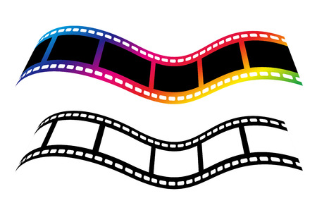 Film strip concept symbols isolated on white background Illustration